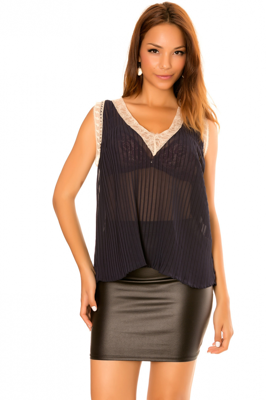 Asymmetric navy top, pleated material and lace V-neck.