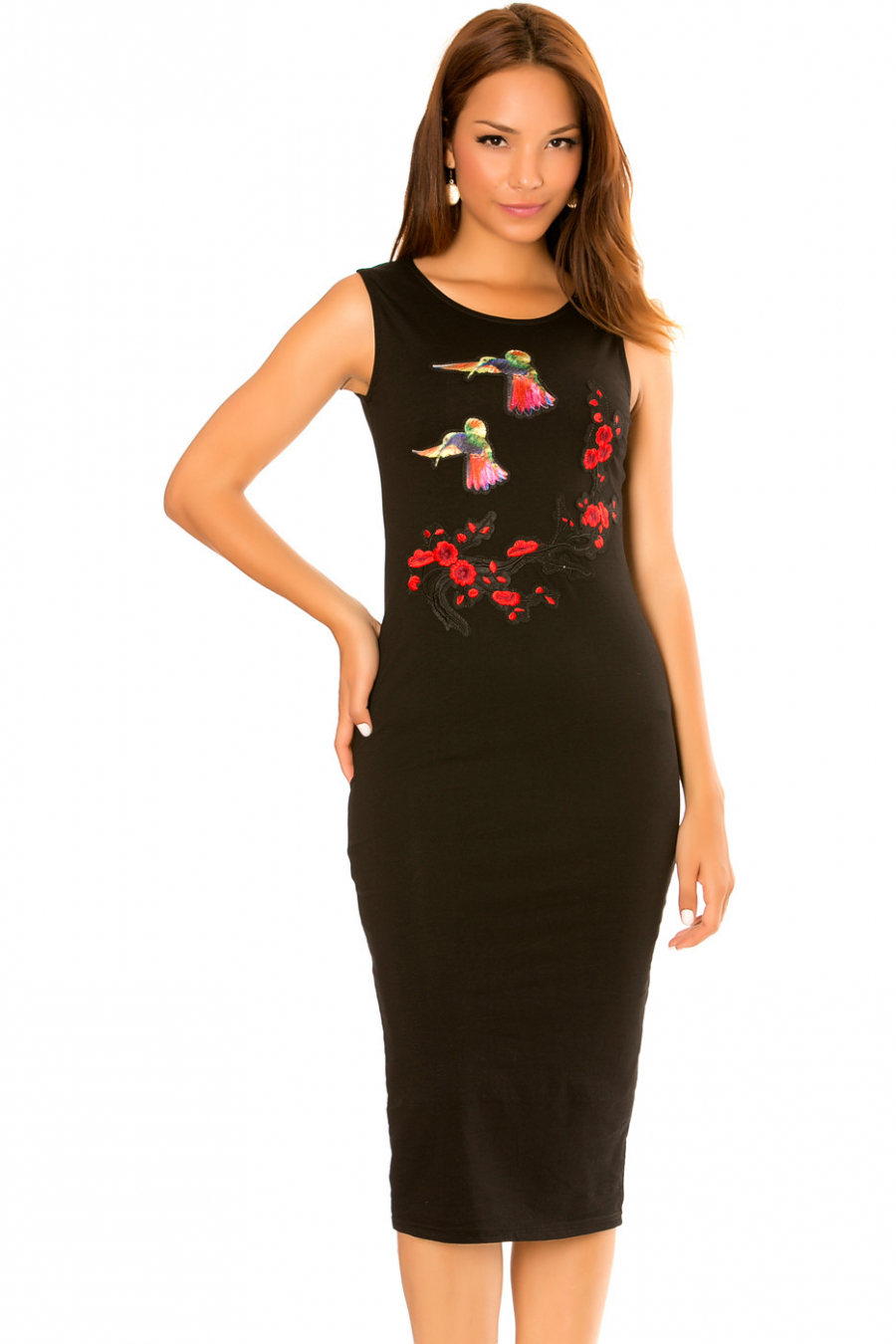 "Black tank dress, with fashionable ""Birds"" yoke."