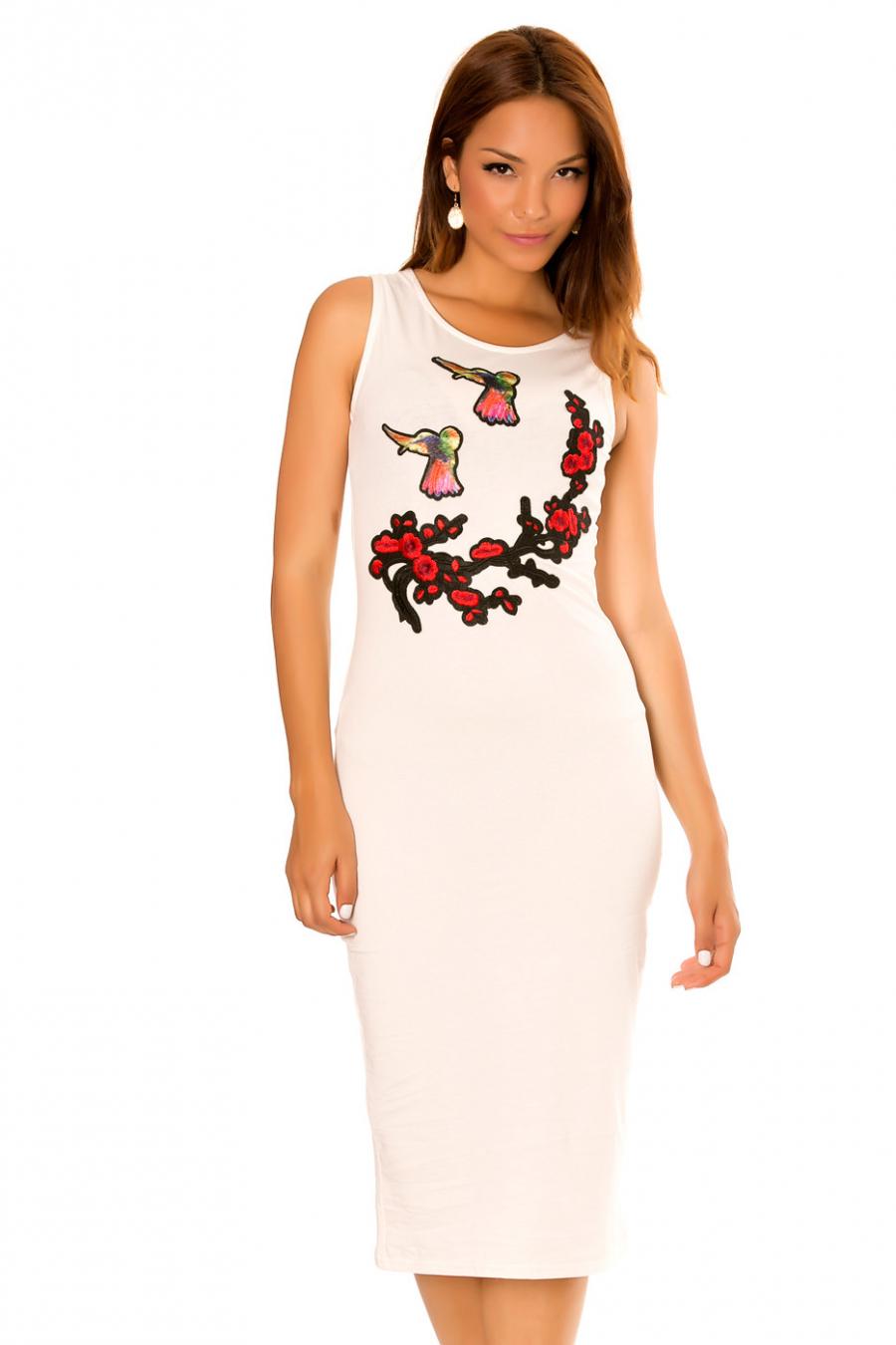 """Robe débardeur blanche, avec empiècement fashion """"Oiseaux""""."""