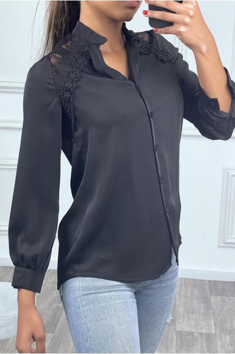 Chemise noire à manches longues avec épaules en dentelle