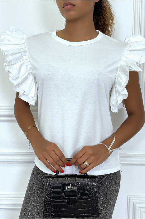 T-shirt blanc à col rond avec manches courtes en volants