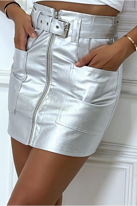 Mini jupe argentée zippé à poche et ceinture