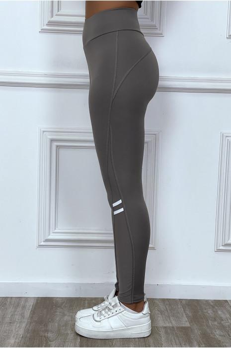 Legging fitness rose avec bandes de tulle