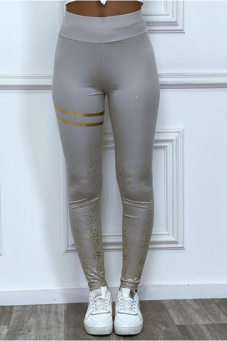 Legging gris avec taches et bandes dorées