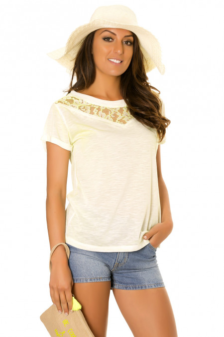 Neon green round neck top with lace pattern. 2516