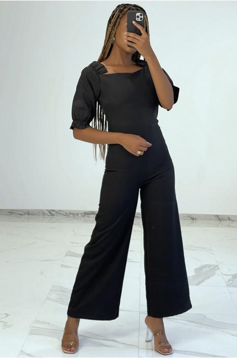 Combinaison pantalon noire à col carré et épaulettes bouffantes
