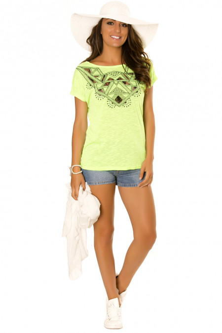 Neon green top with short sleeve, geometric lace pattern. 1612