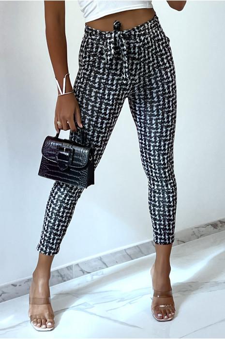 Pantalon slim noir avec motif poches et ceinture