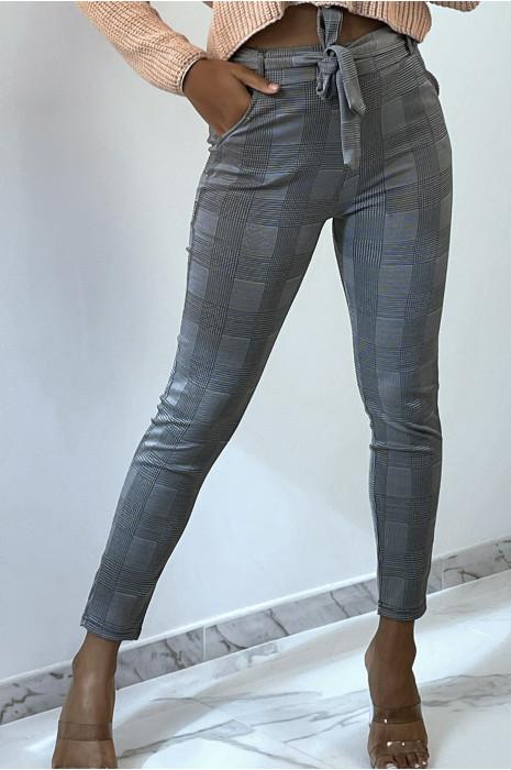 Pantalon slim gris avec motif pied de poule poches et ceinture