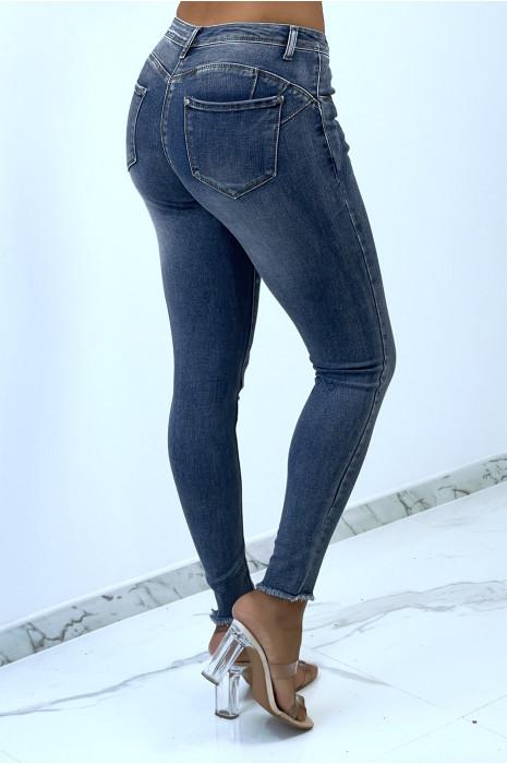 Jeans slim forme push-up délavé et extensible