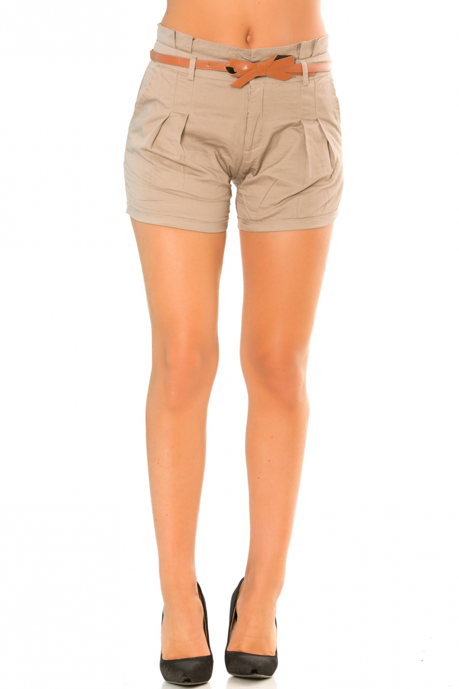 Taupe shorts with bow tie belt PO273D