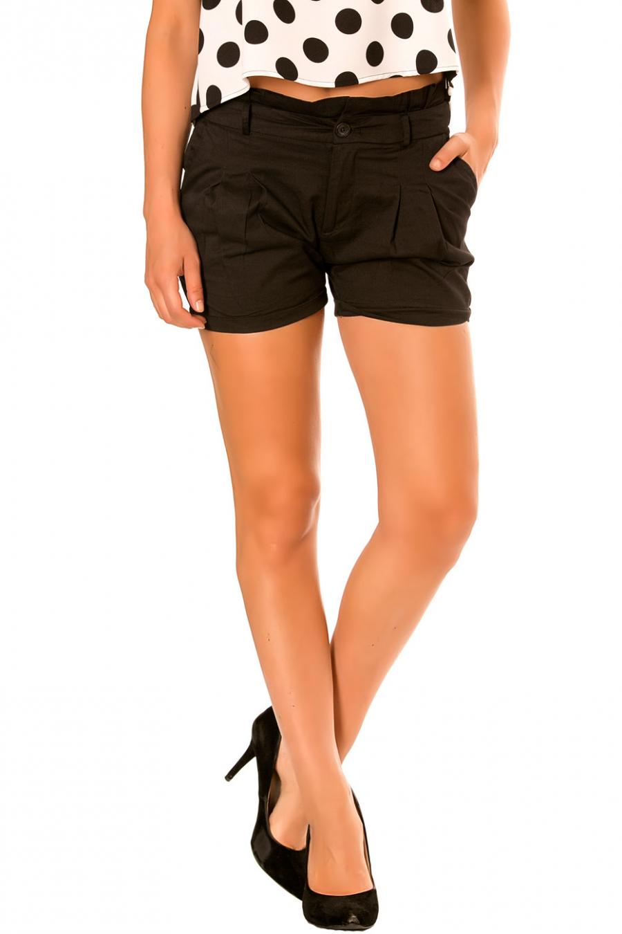 Zwarte short met strikceintuur PO273D