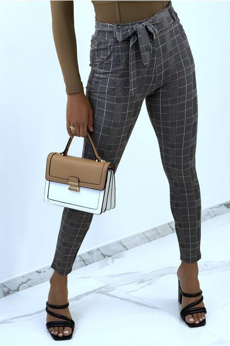 Pantalon moulant taille haute à carreaux turquoise et noeud à la taille