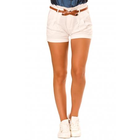 Short blanc avec ceinture noeud papillon PO273D