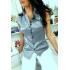 Gray sleeveless shirt with embroidered details officer style 8047
