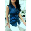 Blue sleeveless shirt with embroidered details officer style 8047