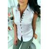 Wit mouwloos overhemd met geborduurde details in officiersstijl 8047