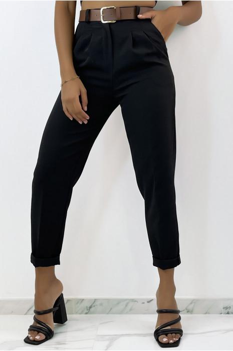 Pantalon noir à pinces taille haute avec ceinture