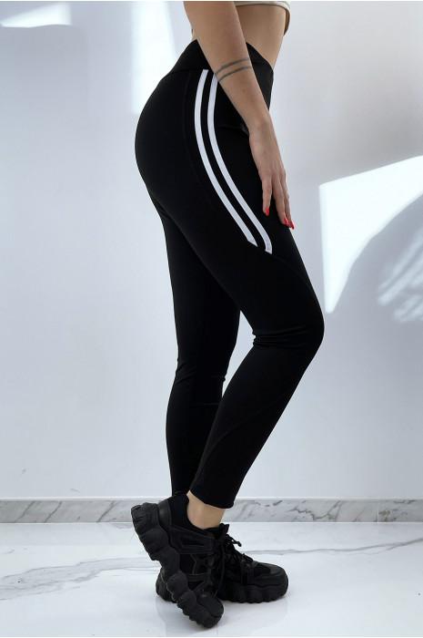 Legging noir taille haute avec bandes blanches sur le côté