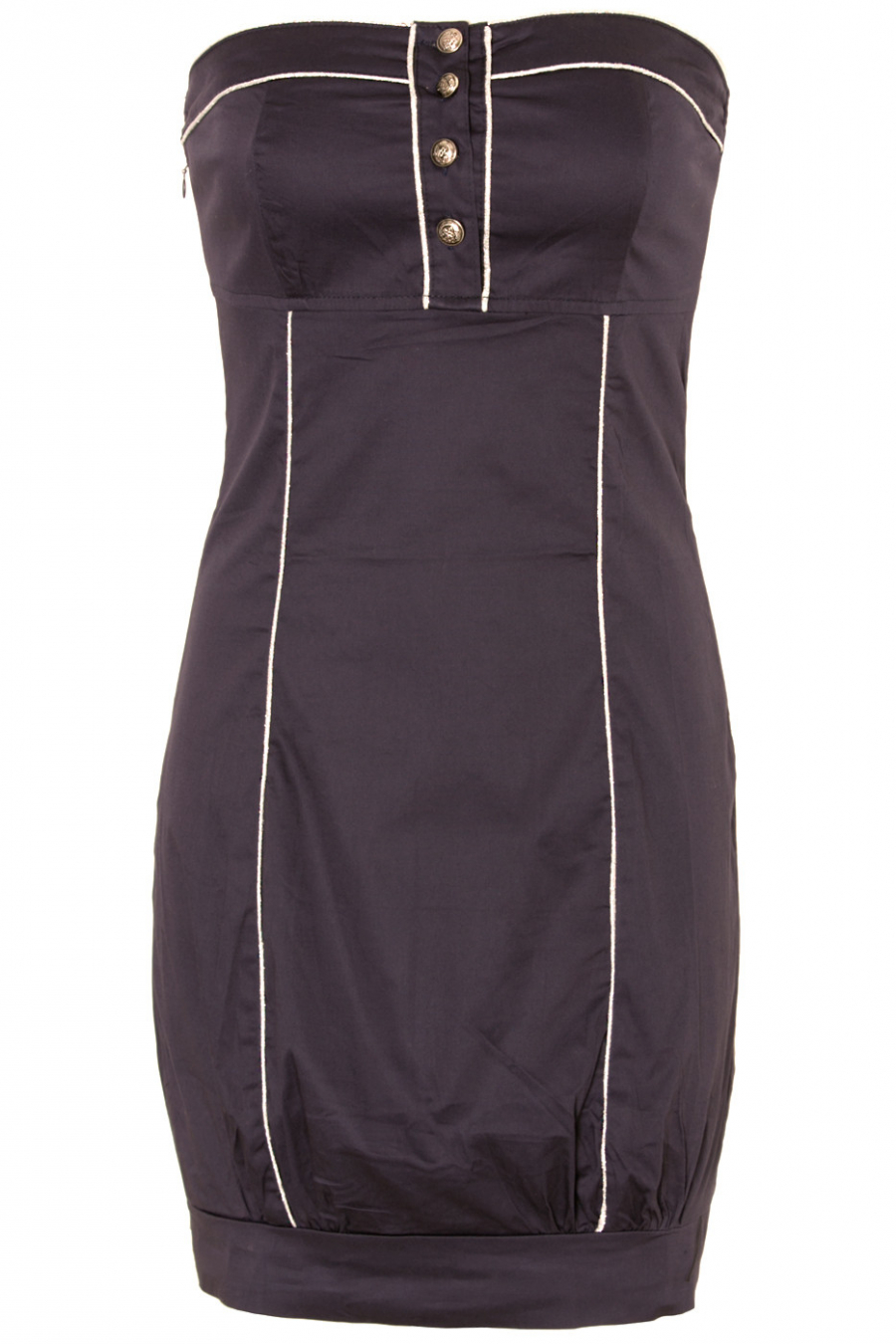 Short strapless dress Navy blue with silver trims and officer style buttons. 2031
