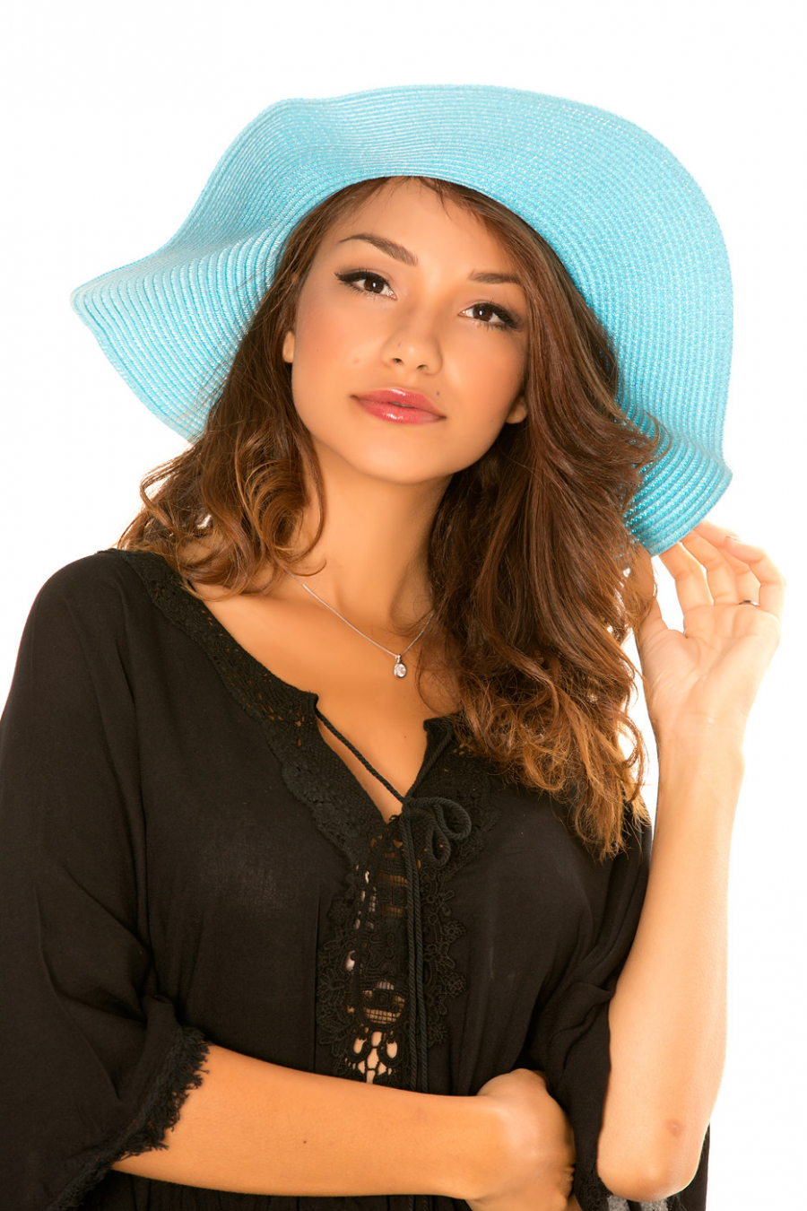 """Chapeau Turquoise en paille style """"Capeline"""" avec noeud tressé. ENCH 13"""