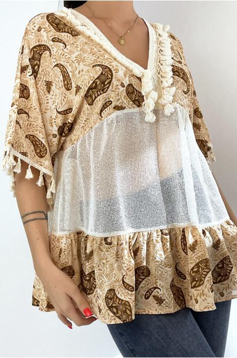 Tunique beige ajourée façon bohème avec pompons et motifs
