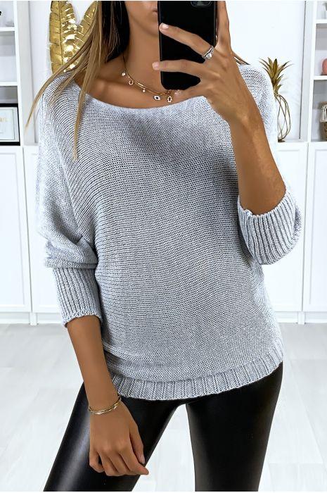 Flash Sale Khaki sweater with mesh boat neck and bat sleeve. 16300