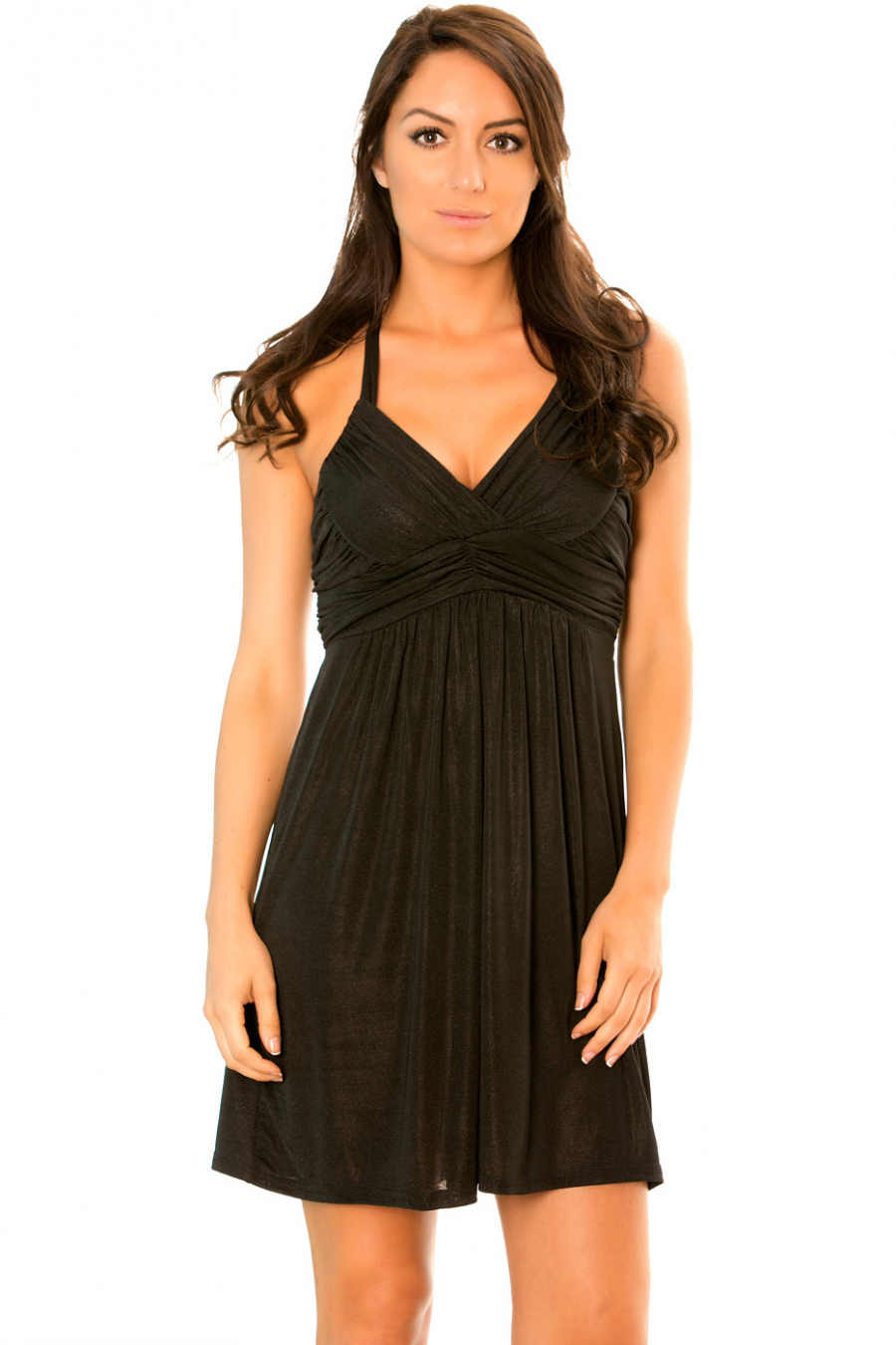 Glittery black dress with plunging neck and strap. 1105
