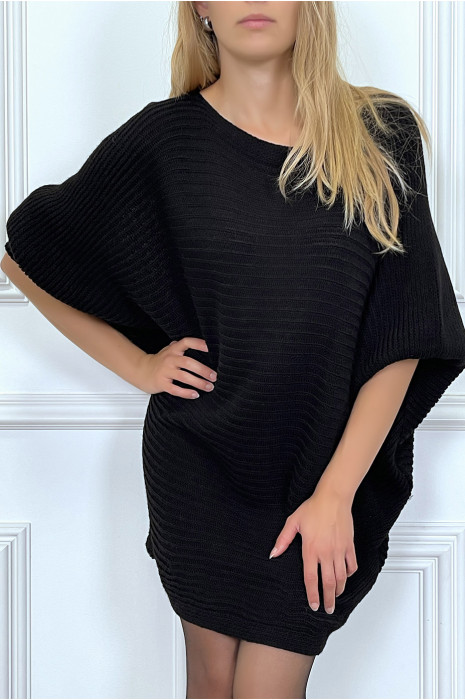 Robe pull beige coupe ample style chauve souris