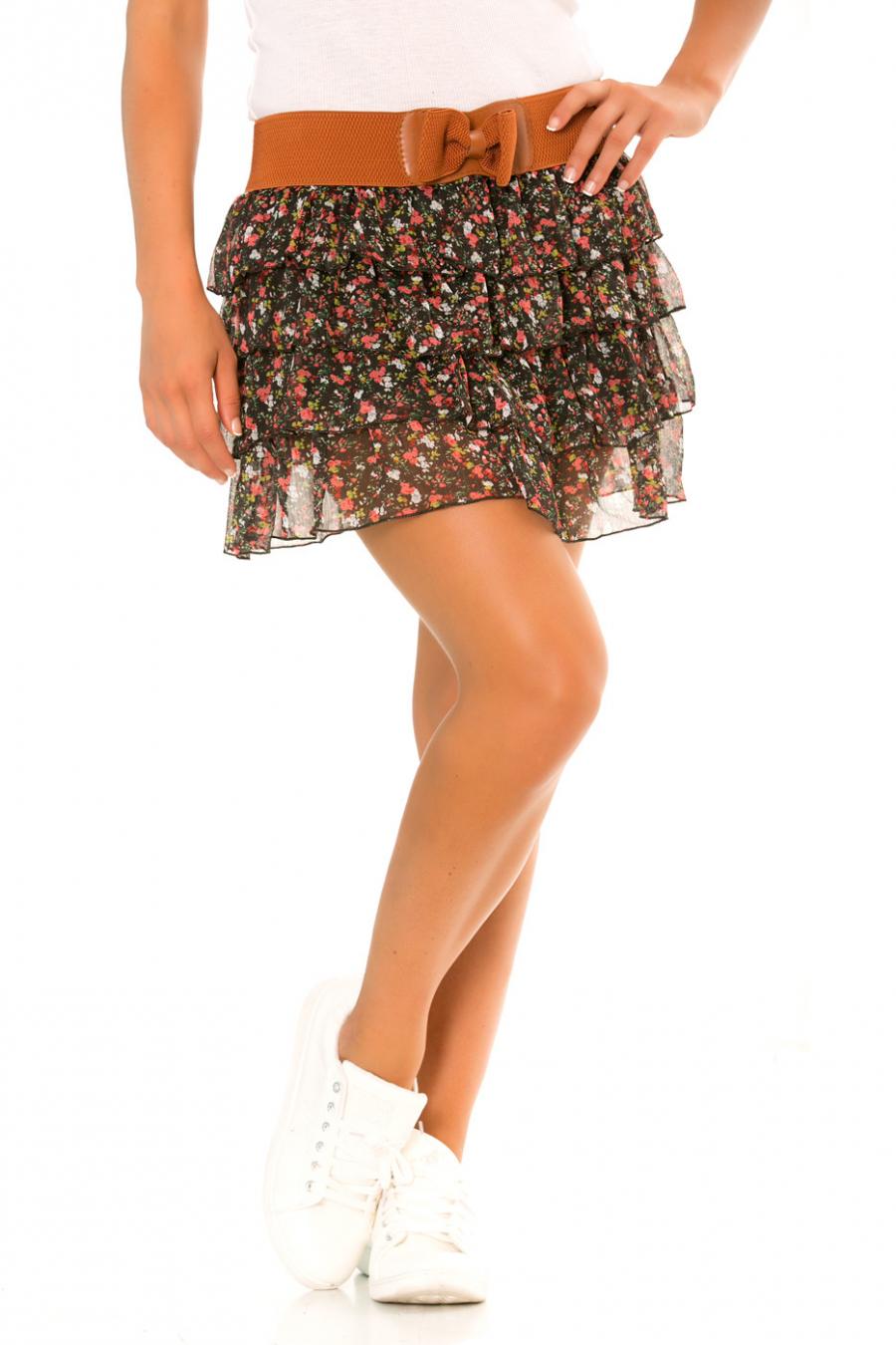 Black sheer mini skirt with red flowers pattern elastic waistband - 920