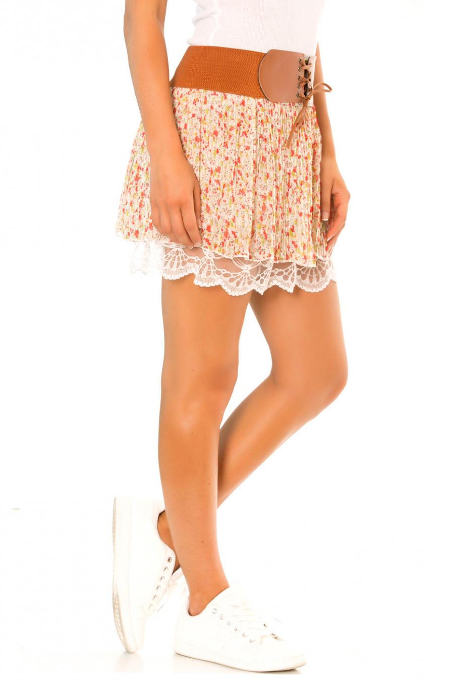 Mini jupe en voilage Beige à motif fleurs et dentelle - 626