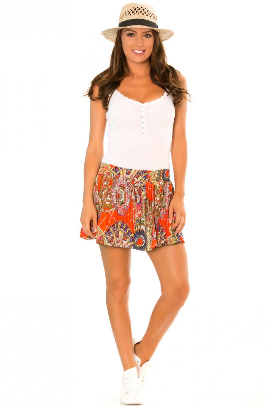Mini jupe plissée Orange à motifs arabesque - 565