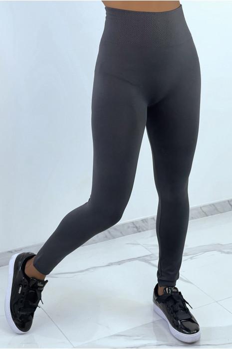 Leggings anthracite épais ventre plat legging polaire molletonné à l'intérieur.