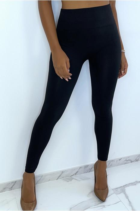 Leggings noir épais ventre plat taille haute