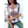 Top Blanc à motifs aztèques. 0678