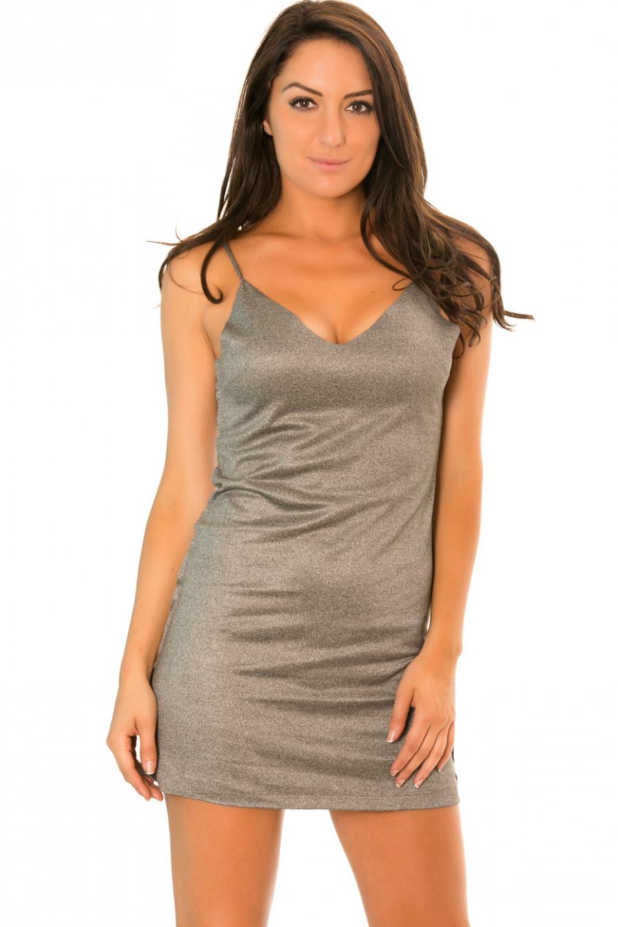 Grijze suède jurk met dunne bandjes - C229