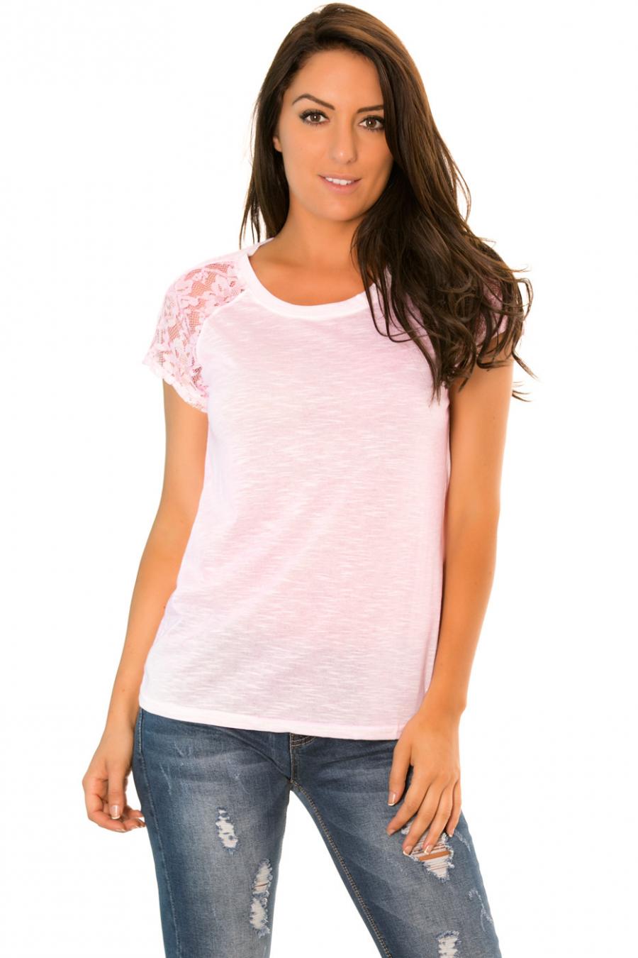 Tee shirt Rose avec dentelles sur les épaules - 2515