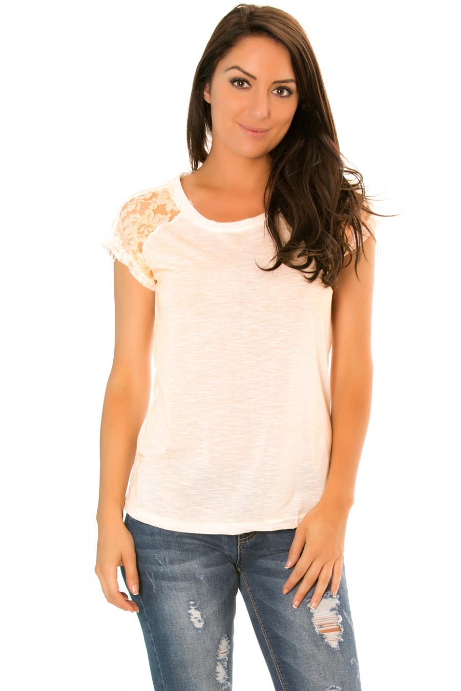Tee shirt Saumon avec dentelles sur les épaules - 2515