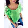 Tee shirt épais Vert à franges et épaules à transparente - 2517
