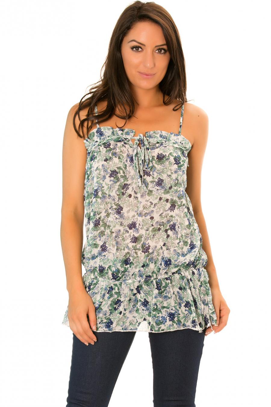 Top Vert/Bleu en voilage cintré à la taille et à motif Fleurs - 186