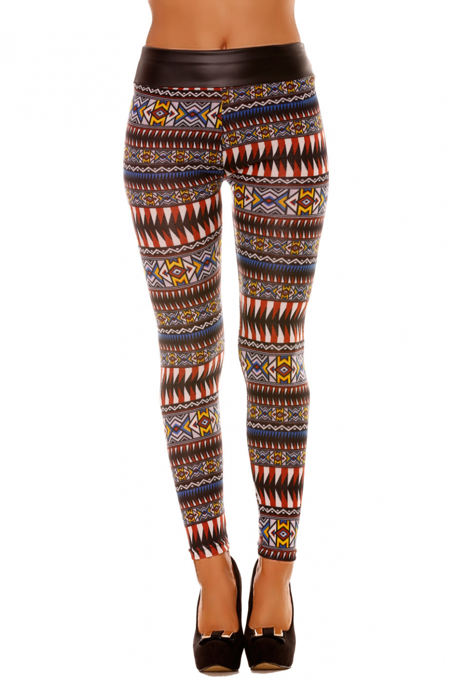 Multicolored acrylic winter leggings with pretty geometric pattern and sky on the waist. 141-3