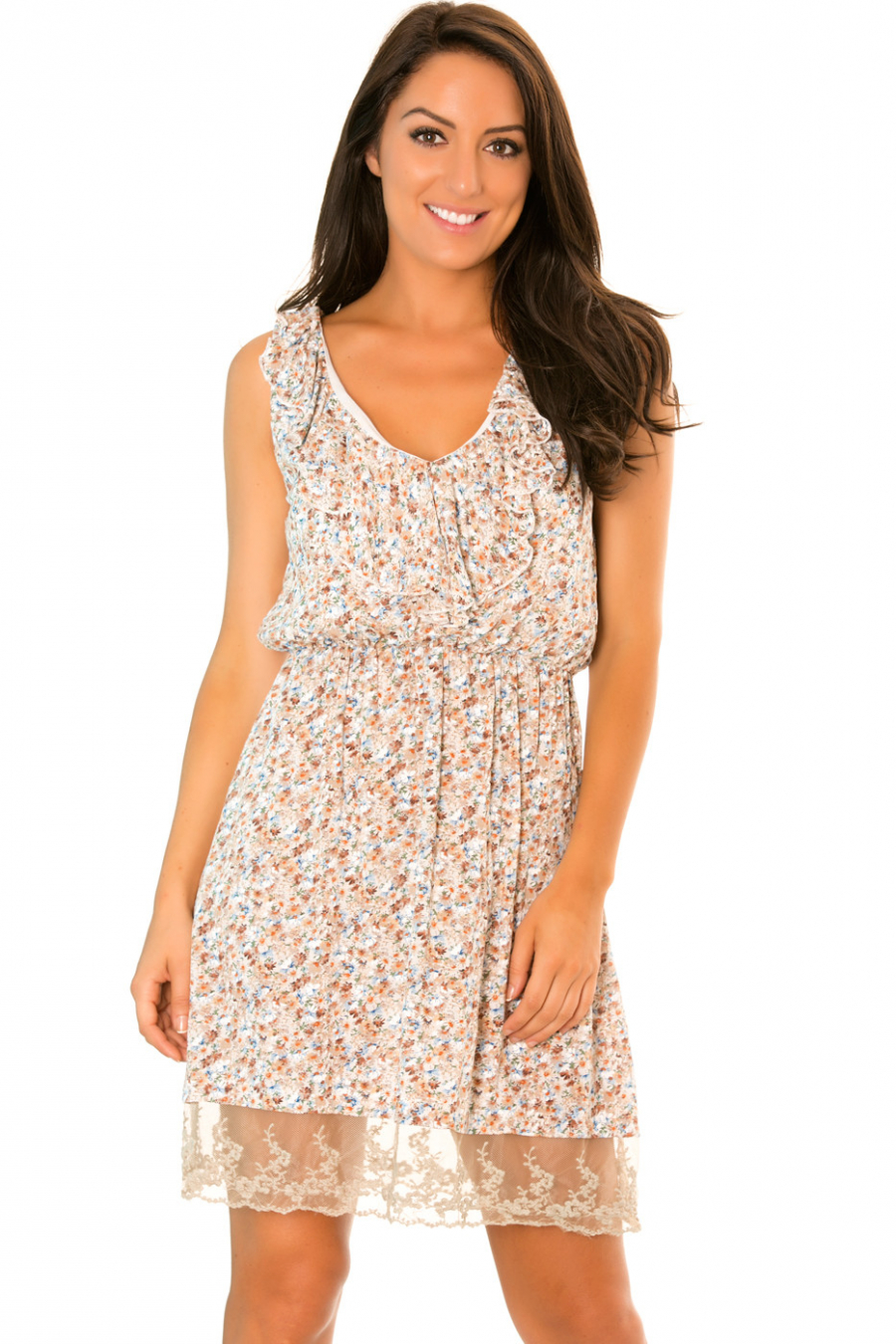 Robe Blanc/Taupe à col V cintrée à la taille à motif petites fleurs - 08807
