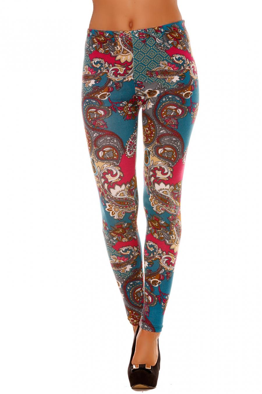 Leggings d'hiver acrylique en Turquoise et Fushia avec jolie motif. Leggings pas cher. 120-1
