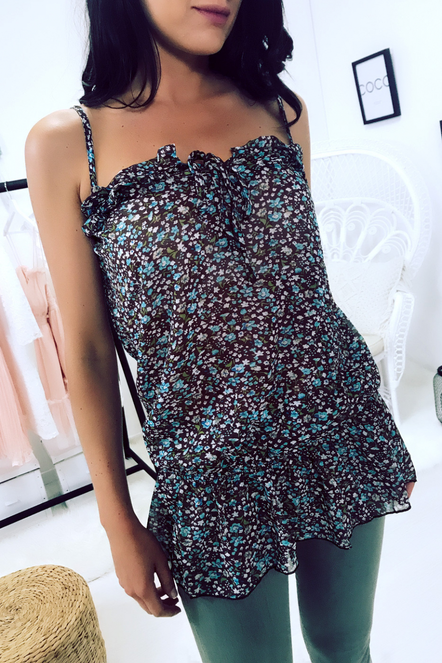 Brown and green sheer top with flower pattern - 186