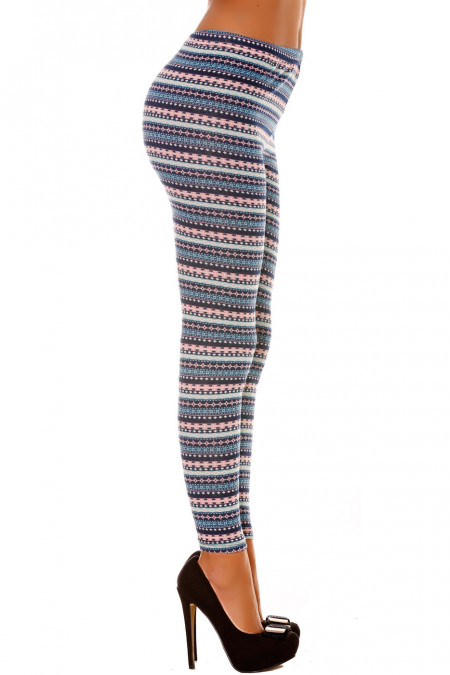 Acrylic winter leggings in Blue and Pink with pretty pattern. Cheap Leggings. 105-2