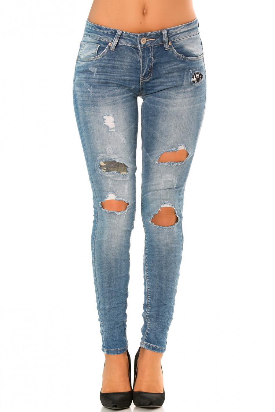 Pantalon jeans slim Bleu à trou et doublure militaire. PTL-S2321