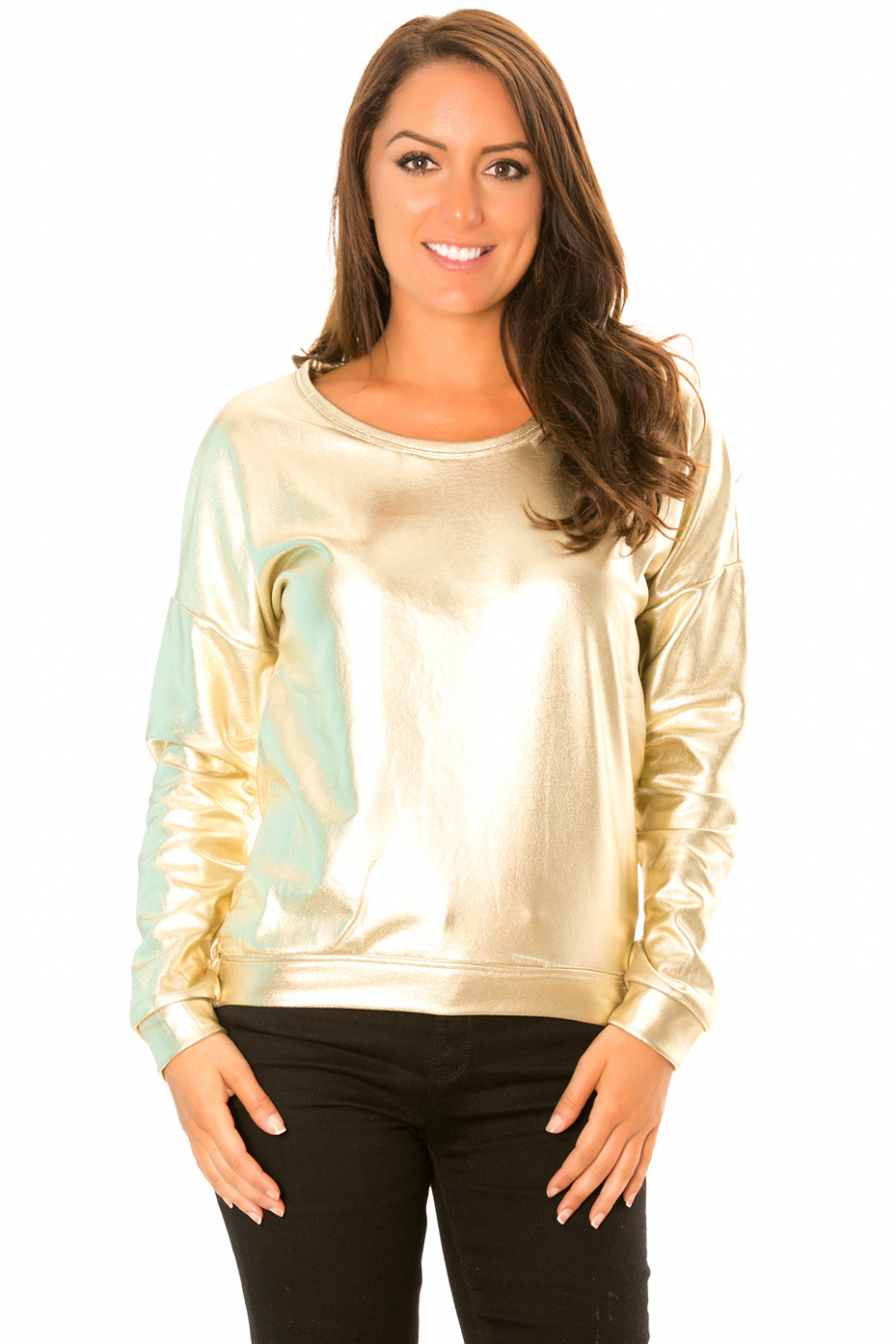 Long-sleeved sweater in shiny retro style. WJ-3871