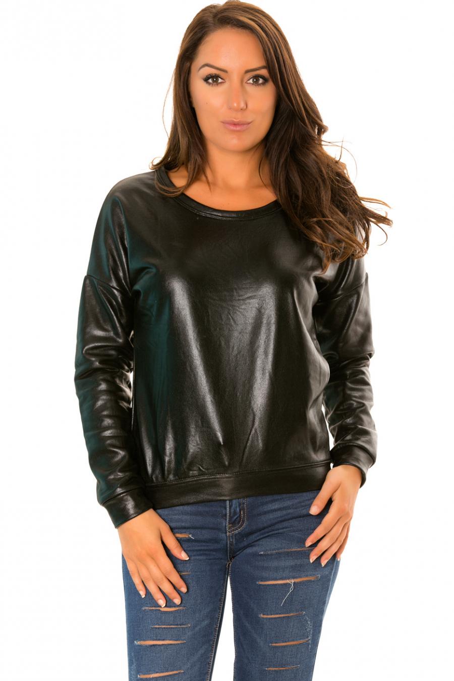 Pull manches longues Noir style retro brillant. WJ-3871