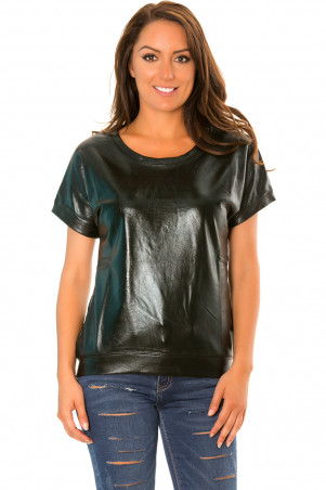 Zwarte glanzende retro-stijl sweater met korte mouwen. WJ-3872