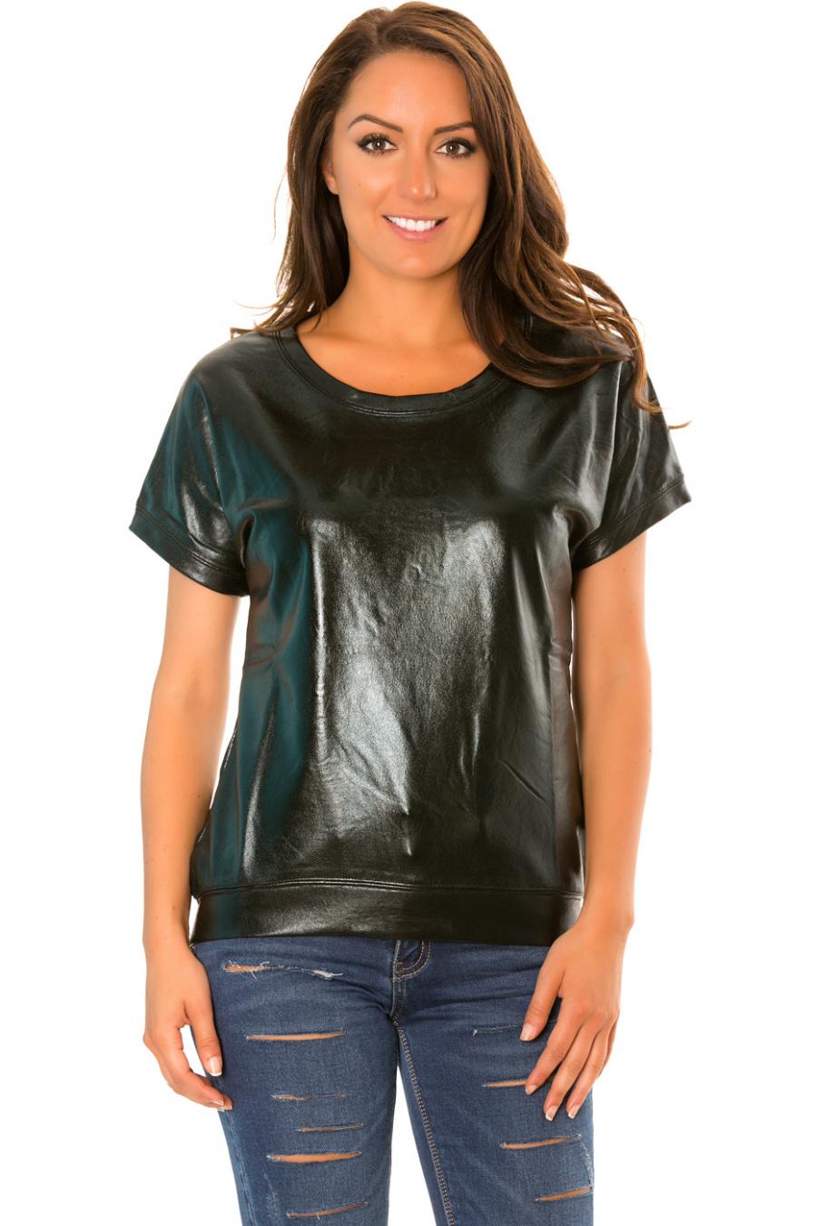 Black shiny retro style short-sleeved sweater. WJ-3872